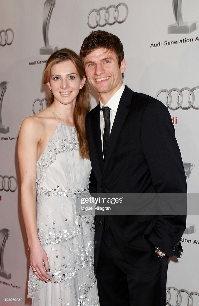 Bayern Munich player <a gi-track='captionPersonalityLinkClicked' href=/galleries/search?phrase=Thomas+Mueller&family=editorial&specificpeople=5842906 ng-click='$event.stopPropagation()'>Thomas Mueller</a> and his wife Lisa attend the Audi Generation Award 2010 at Hotel Bayerischer Hof on October 23, 2010 in Munich, Germany.