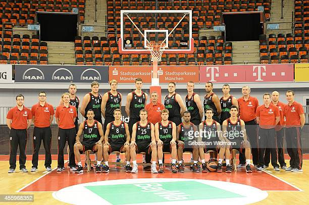 Bayern Munich players coaches and staff pose for a team photograph during the FC Bayern Munich 2014/2015 Turkish Airlines Euroleague Basketball Media...