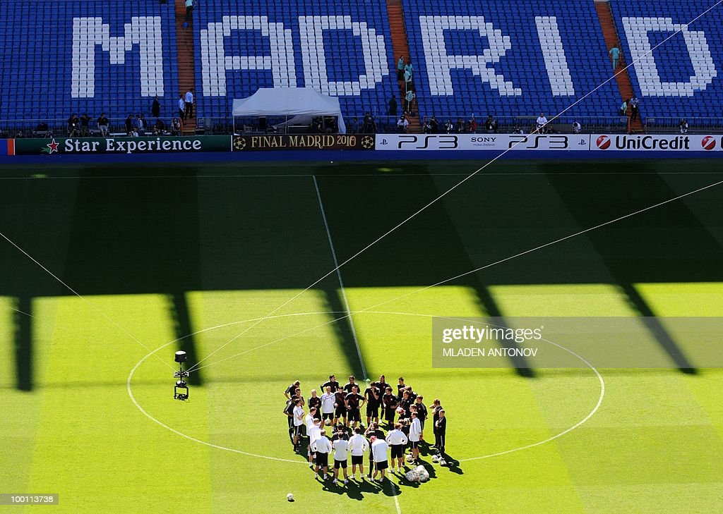 Bayern Munich players gather for a training session at the Santiago Bernabeu stadium in Madrid on May 21, 2010 on the eve of the UEFA Champions League final football match. Inter Milan will face Bayern Munich in the UEFA Champions League final match to be played at the Santiago Bernabeu Stadium in Madrid on May 22, 2010.