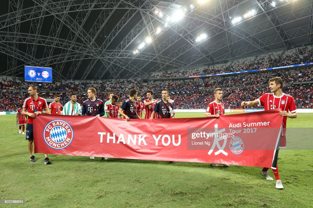 Bayern Munich reveal a 'Thank You' banner after the International Champions Cup match between Chelsea FC and FC Bayern Munich at National Stadium on July 25, 2017 in Singapore.