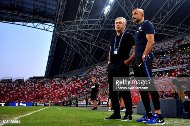 Bayern Munich team manager Carlo Ancelotti and Head coach of FC Interernazionale Luciano Spalletti looks during the International Champions Cup match...