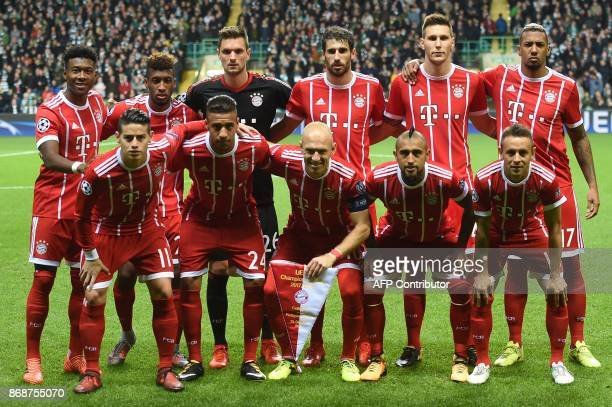 Bayern Munich's Austrian defender David Alaba Bayern Munich's French forward Kingsley Coman Bayern Munich's German goalkeeper Sven Ulreich Bayern...
