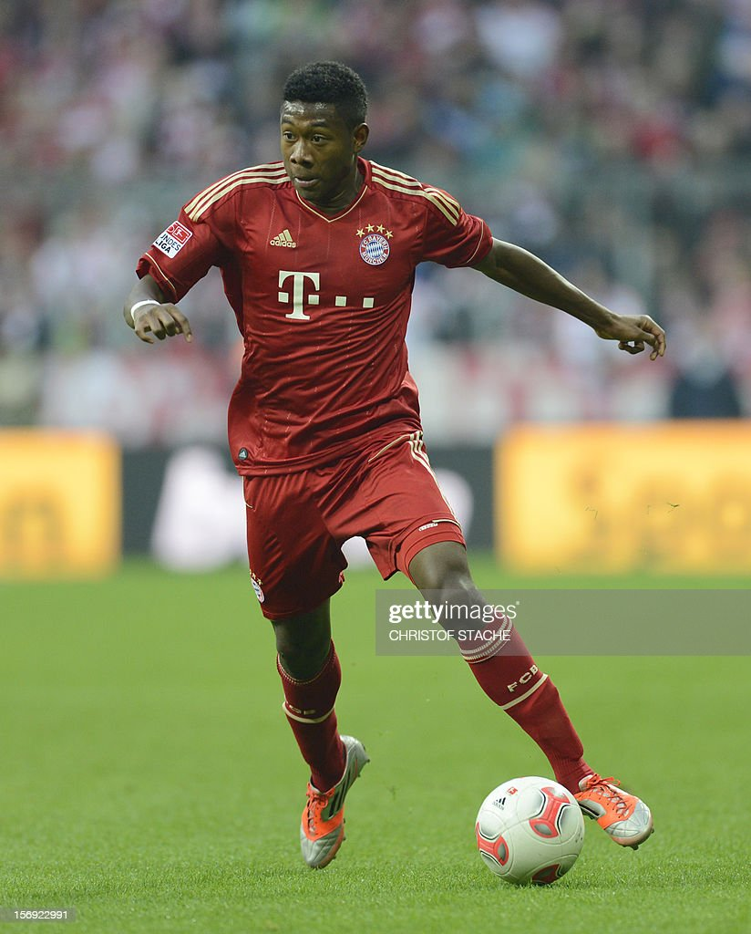 Bayern Munich's Austrian midfielder David Alaba plays the ball during the German first division Bundesliga football match FC Bayern Munich vs Hanover 96 in Munich, southern Germany, on November 24, 2012. Bayern Munich won the match 5-0.