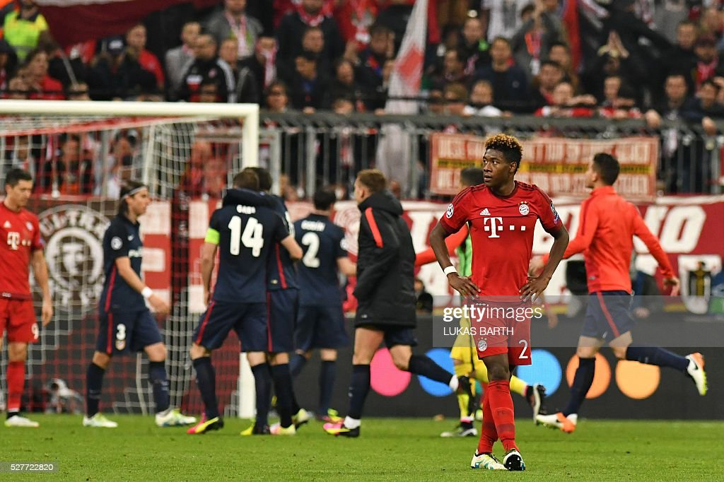 Bayern Munich's Austrian midfielder David Alaba reacts after the UEFA Champions League semi-final, second-leg football match between FC Bayern Munich and Atletico Madrid in Munich, southern Germany, on May 3, 2016. / AFP / LUKAS