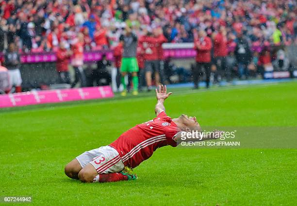 Bayern Munich's Brazilian defender Rafinha celebrates his goal during the German first division Bundesliga football match of Bayern Munich vs FC...