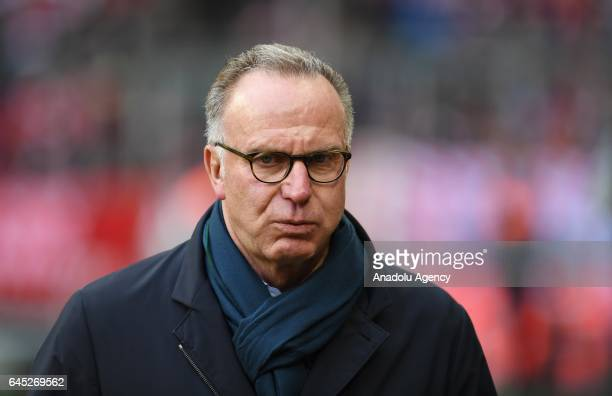 Bayern Munich's CEO KarlHeinz Rummenigge is seen during the Bundesliga soccer match between FC Bayern Munich and Hamburger SV at the Allianz Arena on...