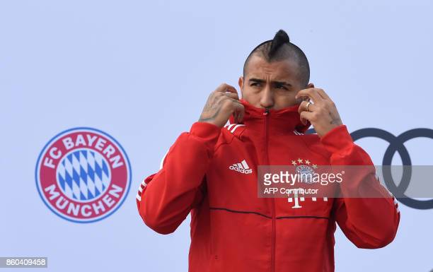 Bayern Munich's Chilean midfielder Arturo Vidal is pictured during a car handover event at the Audi headquarters in Ingolstadt southern Germany on...