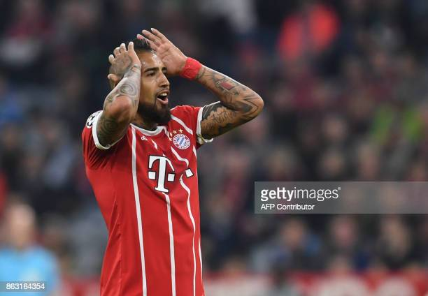 Bayern Munich's Chilian midfielder Arturo Vidal gestures during the Champions League group B match between Bayern Munich and Celtic Glasgow in the...