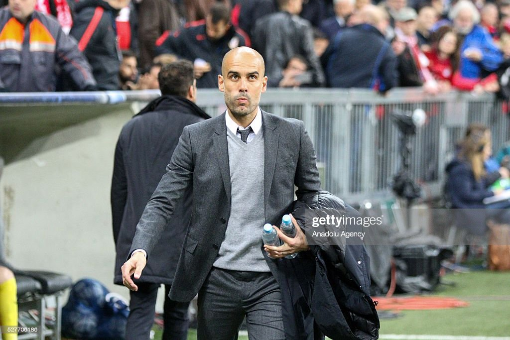 Bayern Munich's Coach Pep Guardiola is seen during the UEFA Champions League semifinal second leg soccer match between FC Bayern Munich and Atletico Madrid at the Allianz Arena in Munich, Germany on May 3, 2016.