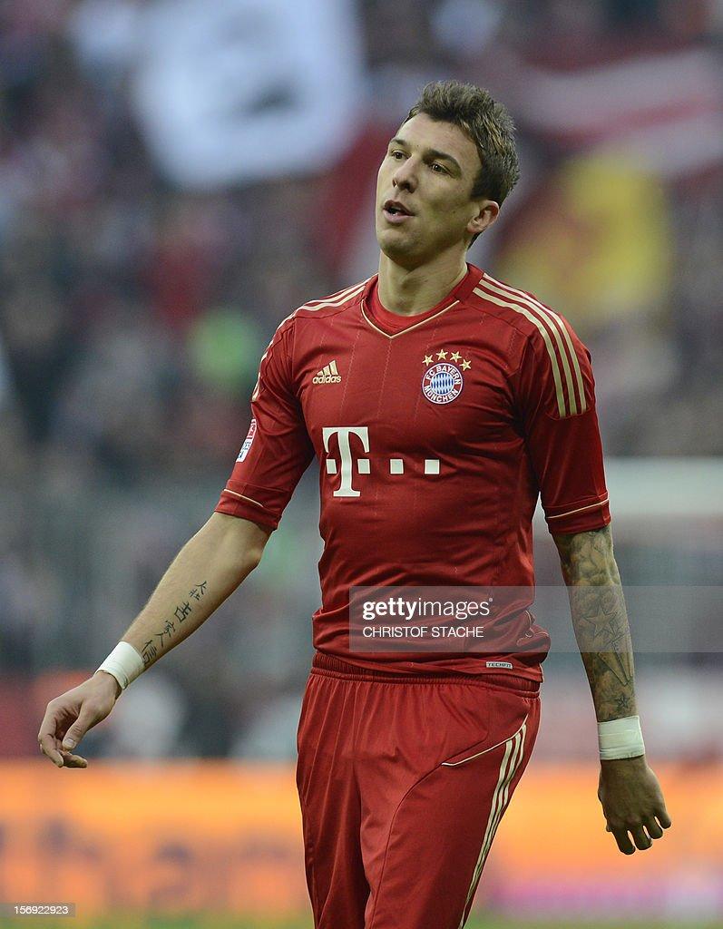 Bayern Munich's Croatian striker Mario Mandzukic reacts during the German first division Bundesliga football match FC Bayern Munich vs Hanover 96 in Munich, southern Germany, on November 24, 2012. Bayern Munich won the match 5-0.