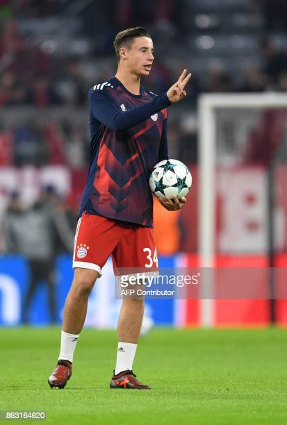 Bayern Munich's defender Marko Friedl gestures during the warm up prior the Champions League group B match between Bayern Munich and Celtic Glasgow...