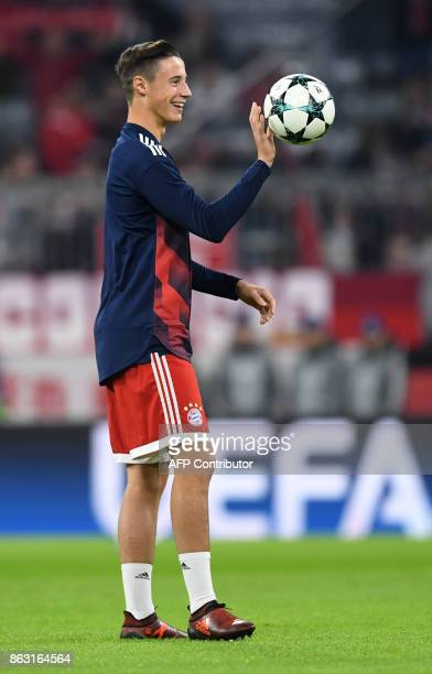 Bayern Munich's defender Marko Friedl warms up prior the Champions League group B match between Bayern Munich and Celtic Glasgow in the stadium in...