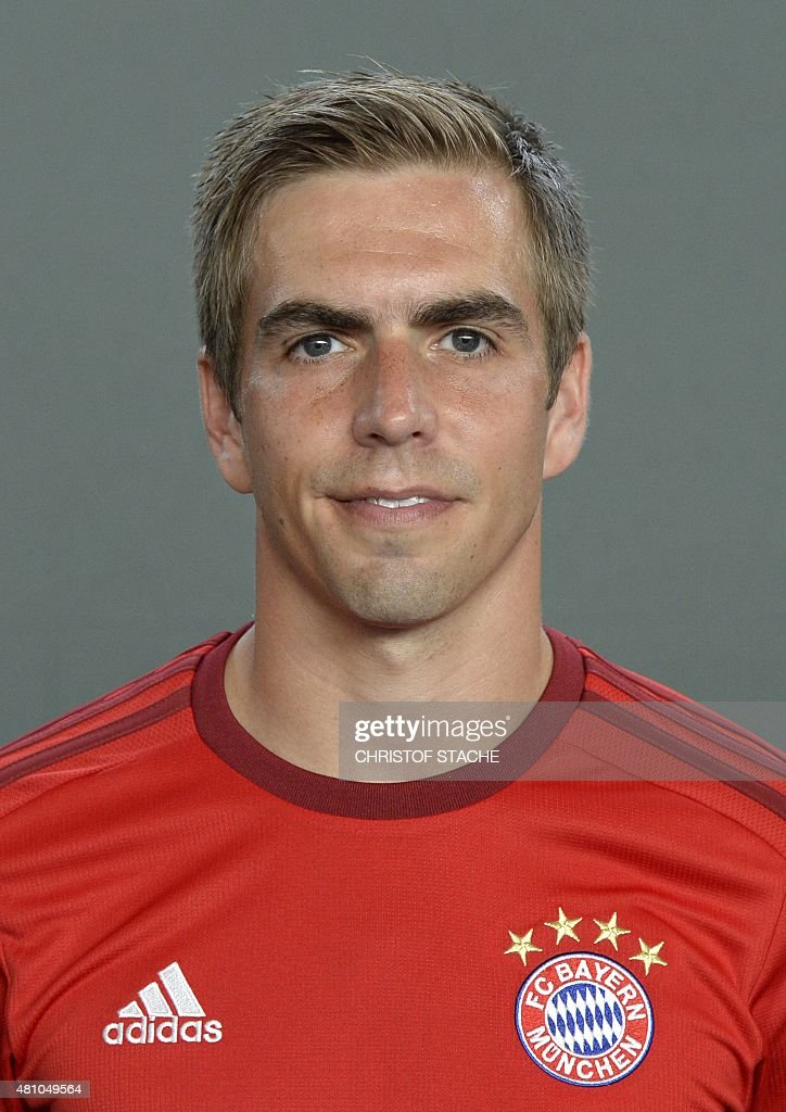 Bayern Munich's defender Philipp Lahm poses during the team presentation of the German first division Bundesliga team FC Bayern Munich at the trainings area ... - bayern-munichs-defender-philipp-lahm-poses-during-the-team-of-the-picture-id481049564