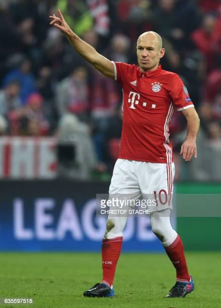 Bayern Munich's Dutch midfielder Arjen Robben gestures during the UEFA Champions League round of sixteen football match between FC Bayern Munich and...