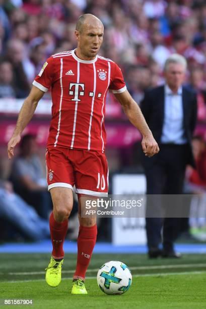 Bayern Munich's Dutch midfielder Arjen Robben plays the ball during the German First division Bundesliga football match FC Bayern Munich vs SC...
