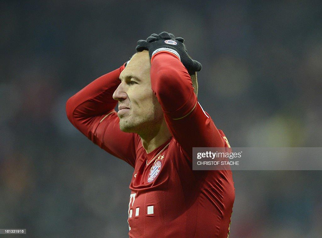 Bayern Munich's Dutch midfielder Arjen Robben reacts after a chance during the German first division Bundesliga football match FC Bayern Munich vs Fc Schalke 04 in Munich, southern Germany, on February 9, 2013.