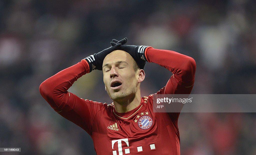 Bayern Munich's Dutch midfielder Arjen Robben reacts during the German first division Bundesliga football match FC Bayern Munich vs Fc Schalke 04 in Munich, southern Germany, on February 9, 2013.