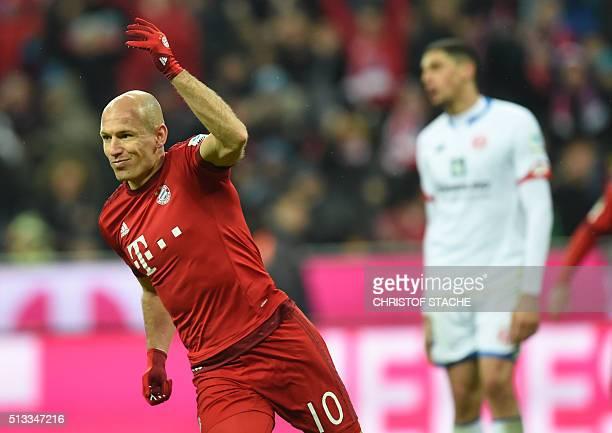 Bayern Munich's Dutch midfielder Arjen Robben reacts during the German first division Bundesliga football match of FC Bayern Munich v FSV Mainz 05 in...