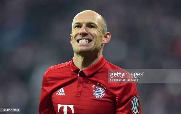 Bayern Munich's Dutch midfielder Arjen Robben reacts during the German Cup DFB Pokal Round of 16 football match FC Bayern Munich v VFL Wolfburg in...