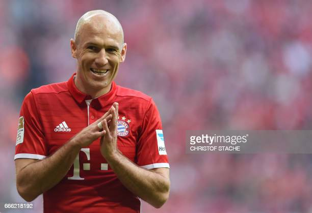 Bayern Munich's Dutch midfielder Arjen Robben reacts during the German first division Bundesliga football match FC Bayern Munich v BVB Borussia...