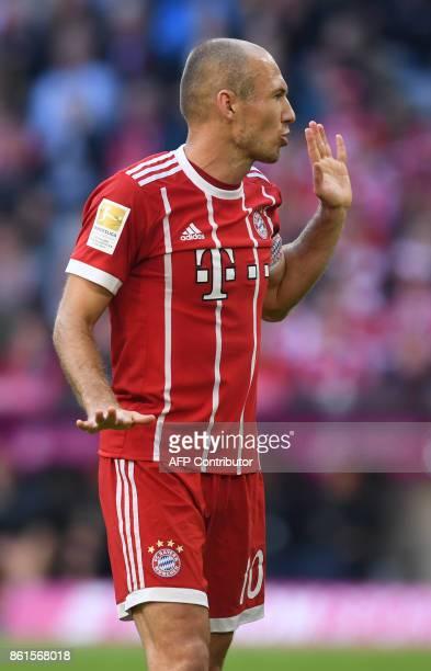 Bayern Munich's Dutch midfielder Arjen Robben reacts during the German First division Bundesliga football match FC Bayern Munich vs SC Freiburg in...