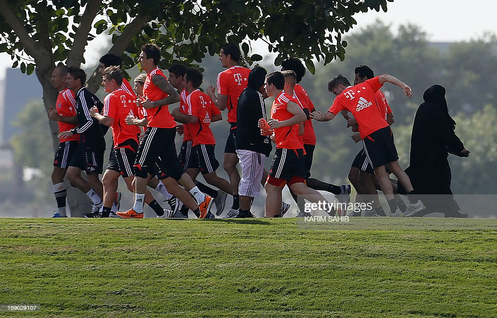 Bayern Munich's football players attend a training session at the Aspire Academy for Sports Excellence in Doha on January 6, 2013. Bayern Munich is in Qatar for a week-long training camp before the beginning of the new season of the German Bundesliga after the winter break. AFP PHOTO/KARIM SAHIB