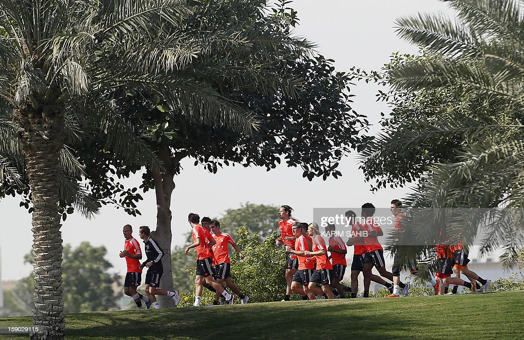 Bayern Munich's football players attend a training session at the Aspire Academy for Sports Excellence in Doha on January 6, 2013. Bayern Munich is in Qatar for a week-long training camp before the beginning of the new season of the German Bundesliga after the winter break.