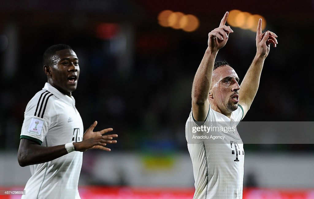 FC Bayern Munichs Franck Ribery (R) celebrates after scoring a goal during the FIFA Club World Cup 2013 soccer match between FC Bayern Munich and Guangzhou Evergrande FC on December 2013 in Agadir, Morocco.