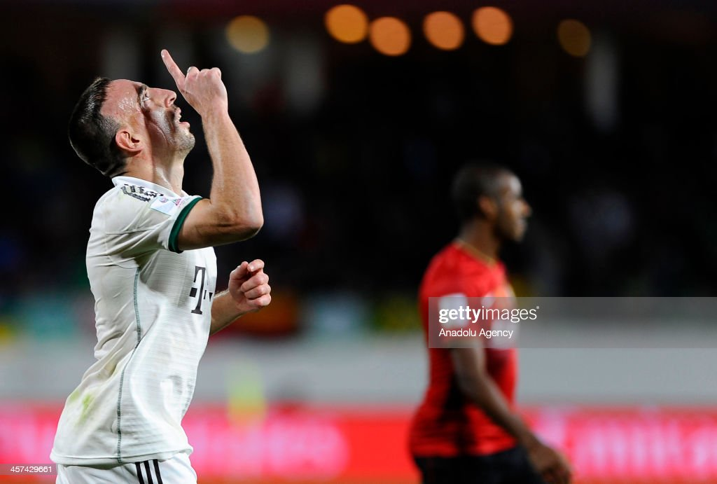 FC Bayern Munichs Franck Ribery celebrates after scoring a goal during the FIFA Club World Cup 2013 soccer match between FC Bayern Munich and Guangzhou Evergrande FC on December 2013 in Agadir, Morocco.
