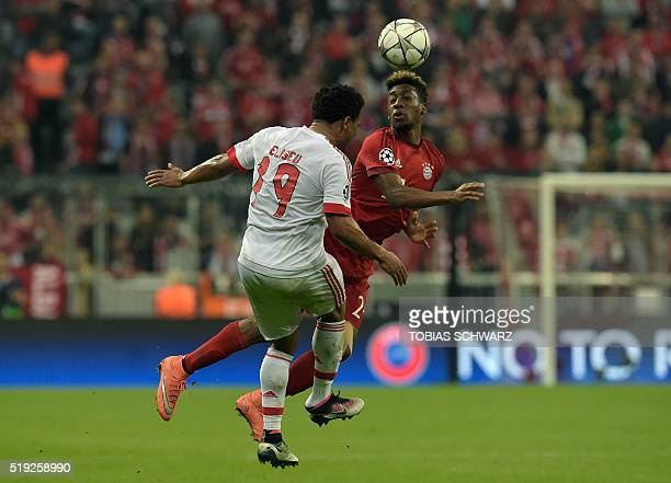 Bayern Munich's French defender Kingsley Coman and Benfica's defender Eliseu vie for the ball during the Champions League quarterfinal firstleg...