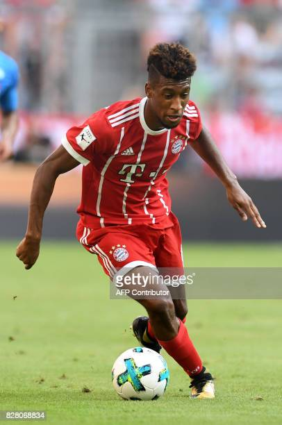 Bayern Munich's French defender Kingsley Coman plays the ball during the third place Audi Cup football match between SSC Napoli and Bayern Munich in...