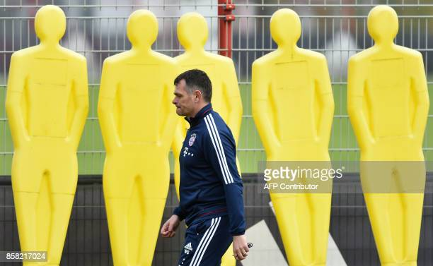 Bayern Munich's French interim coach Willy Sagnol leaves the field after a training session at the club area in Munich southern Germany on October 6...