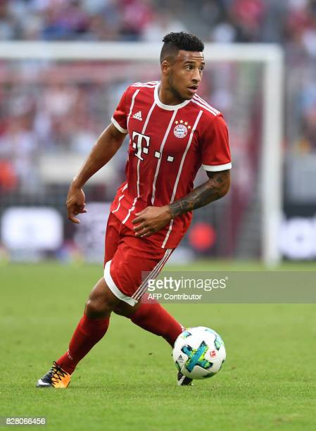 Bayern Munich's French midfielder Corentin Tolisso plays the ball during the third place Audi Cup football match between SSC Napoli and Bayern Munich...