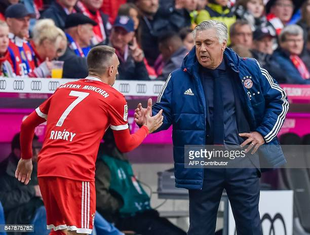 Bayern Munich's French midfielder Franck Ribery and Bayern Munich's Italian head coach Carlo Ancelotti shake hands during the German First division...