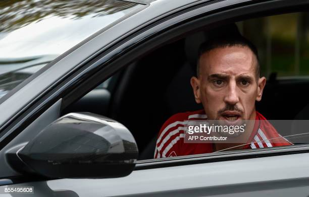 Bayern Munich's French midfielder Franck Ribery arrives at the training area prior to a press conference in Munich southern Germany on September 29...