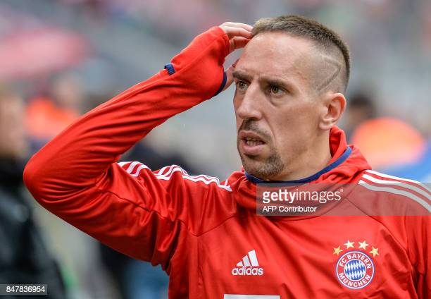 Bayern Munich's French midfielder Franck Ribery arrives for the German First division Bundesliga football match FC Bayern Munich v Mainz 05 in Munich...