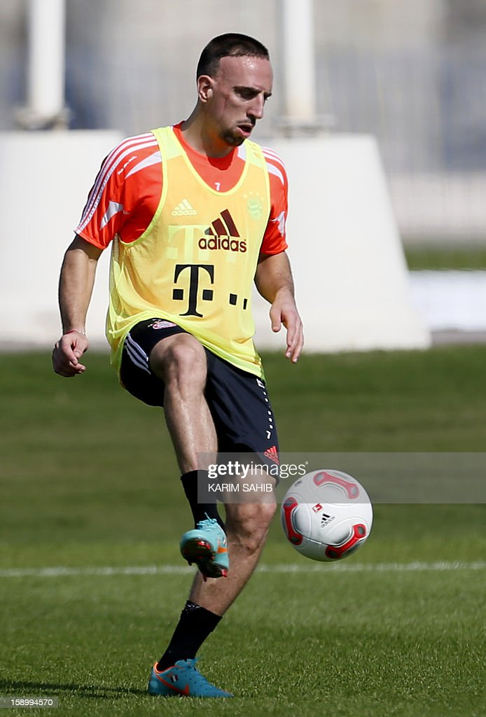 Bayern Munich's French midfielder Franck Ribery attends a football training session at the Aspire Academy for Sports Excellence in Doha on January 5, 2013. Bayern Munich is in Qatar for a week-long training camp before the beginning of the new season of the German Bundesliga after the winter break.