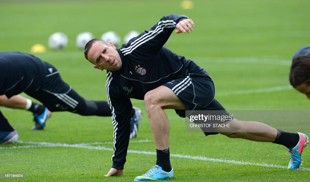 Bayern Munich's French midfielder Franck Ribery attends the final team training ahead the UEFA Champions League semi final first leg football match between FC Bayern Munich and FC Barcelona at the trainings area in Munich, southern Germany, on April 22, 2013. The semi final match will take place on Tuesday evening, April 23, 2013.