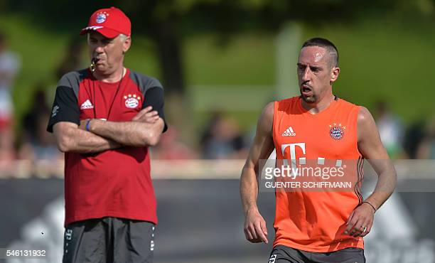 Bayern Munich's French midfielder Franck Ribery attends the first training session with new Bayern Munich's head coach Carlo Ancelotti at the club...