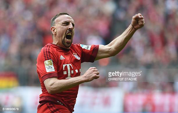 Bayern Munich's French midfielder Franck Ribery celebrates after his opening goal during the German Bundesliga first division football match between...