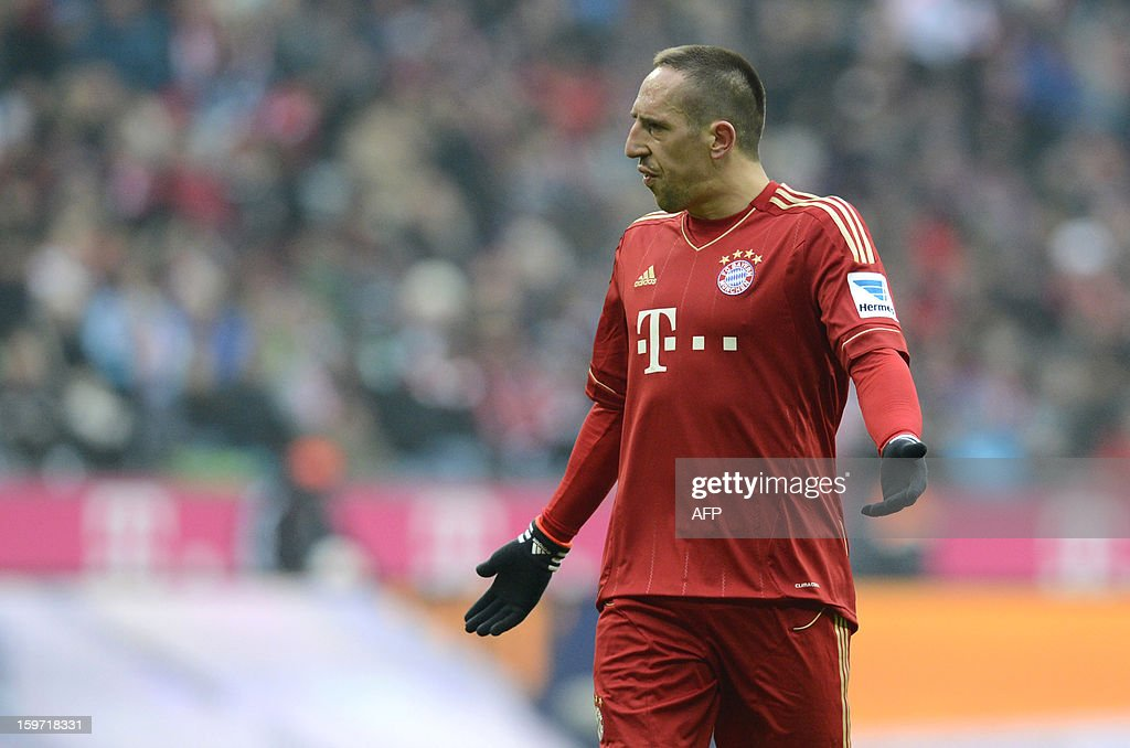 Bayern Munich's French midfielder Franck Ribery gestures during the German first division Bundesliga football match FC Bayern Munich vs Greuther Fuerth in Munich, southern Germany, on January 19, 2013.