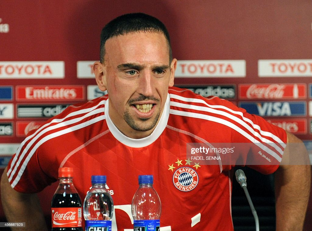 Bayern Munich's French midfielder Franck Ribery, give a press conference at the FIFA Club World Cup in the coastal Moroccan city of Agadir on December 15, 2013. The regional champions from each of the FIFA regions are gathering in the north African country of Morocco to decide which is the best domestic team in the world. Bayern Munich will play China's Guangzhou Evergrande.