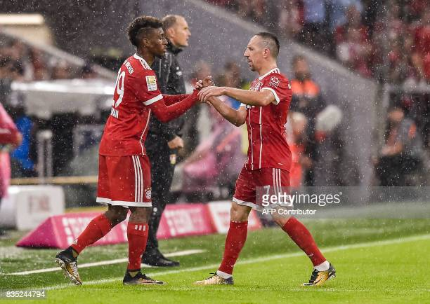 Bayern Munich's French midfielder Franck Ribery is substituded by Bayern Munich's French striker Kingsley Coman during the German first division...