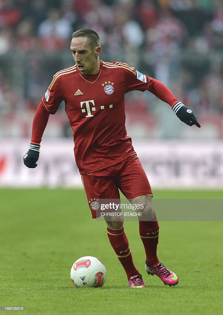 Bayern Munich's French midfielder Franck Ribery plays during the German first division Bundesliga football match FC Bayern Munich vs Greuther Fuerth in Munich, southern Germany, on January 19, 2013.