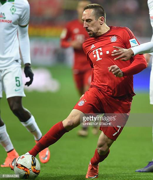 Bayern Munich's French midfielder Franck Ribery plays the ball during the German first division Bundesliga football match FC Bayern Muenchen vs SV...