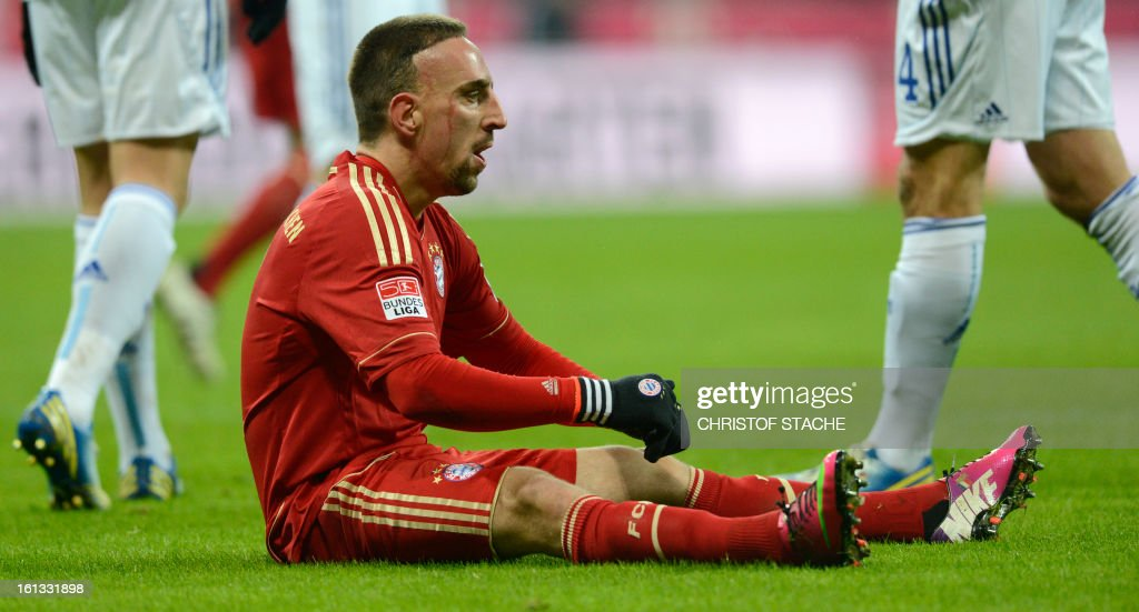 Bayern Munich's French midfielder Franck Ribery reacts after an attack during the German first division Bundesliga football match FC Bayern Munich vs Fc Schalke 04 in Munich, southern Germany, on February 9, 2013.