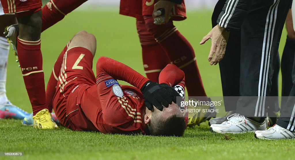 Bayern Munich's French midfielder Franck Ribery reacts after an attack during the UEFA Champions League quarter final football match FC Bayern Munich vs Juventus Turin in Munich, southern Germany, on April 2, 2013.
