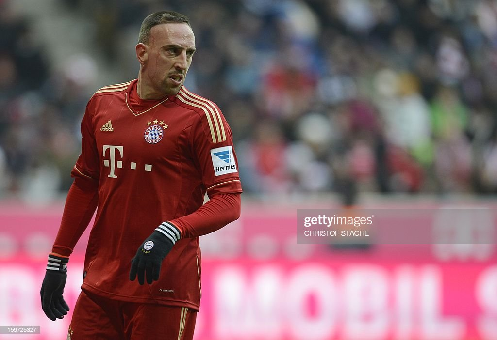 Bayern Munich's French midfielder Franck Ribery reacts during the German first division Bundesliga football match FC Bayern Munich vs Greuther Fuerth in Munich, southern Germany, on January 19, 2013.