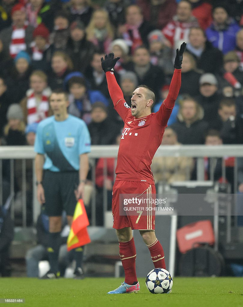 Bayern Munich's French midfielder Franck Ribery reacts during the UEFA Champions League quarter final match between FC Bayern Munich vs Juventus Turin at the Allianz Arena stadium in Munich, southern Germany, on April 2, 2013.