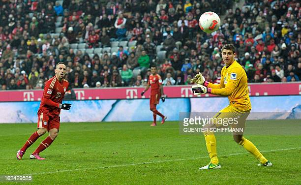 Bayern Munich's French midfielder Franck Ribery scores his second goal during the German first division Bundesliga football match FC Bayern Munich vs...
